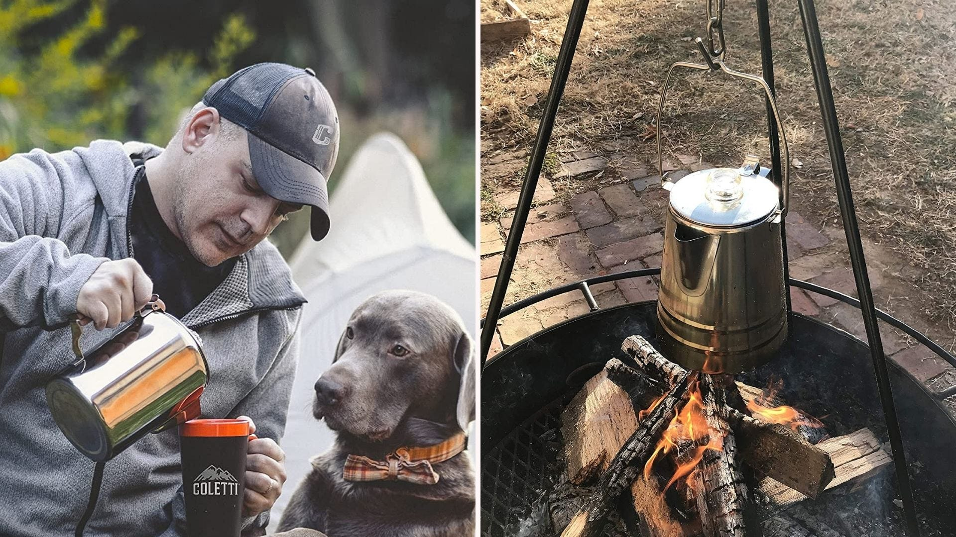 A camper pouring coffee from the COLETTI percolator in a cup while a Chocolate Labrador watches, and the percolator hanging over a campfire.