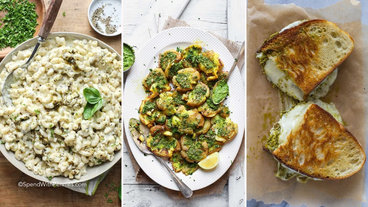 Three images featuring recipes from the article below. The left image features pesto mac and cheese by Spend with Pennies, the middle image features smashed potatoes by Minimalist Baker and the right image features pesto grilled cheese by Gimme Delicious.
