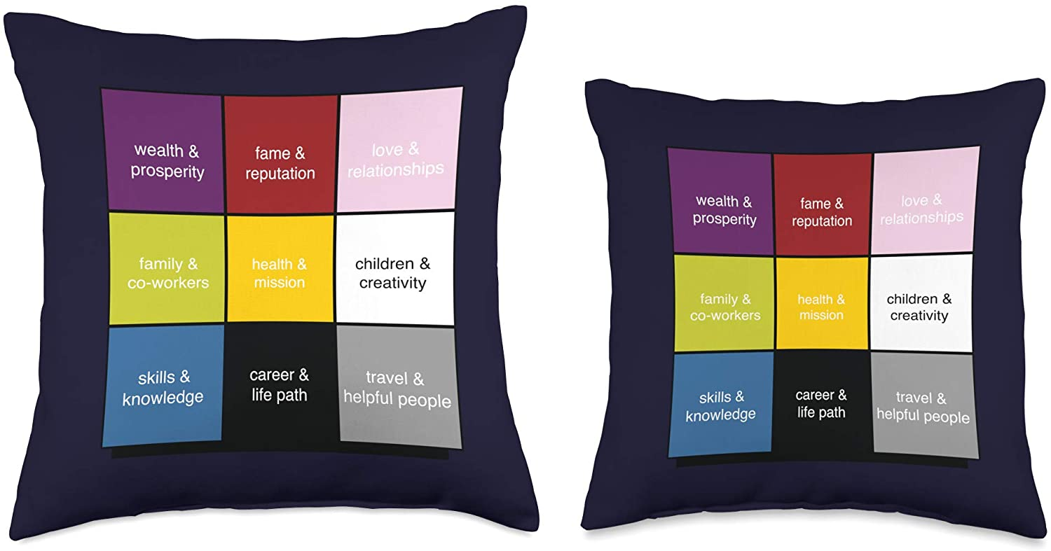 Two different size throw pillow featuring the feng shui bagua map.