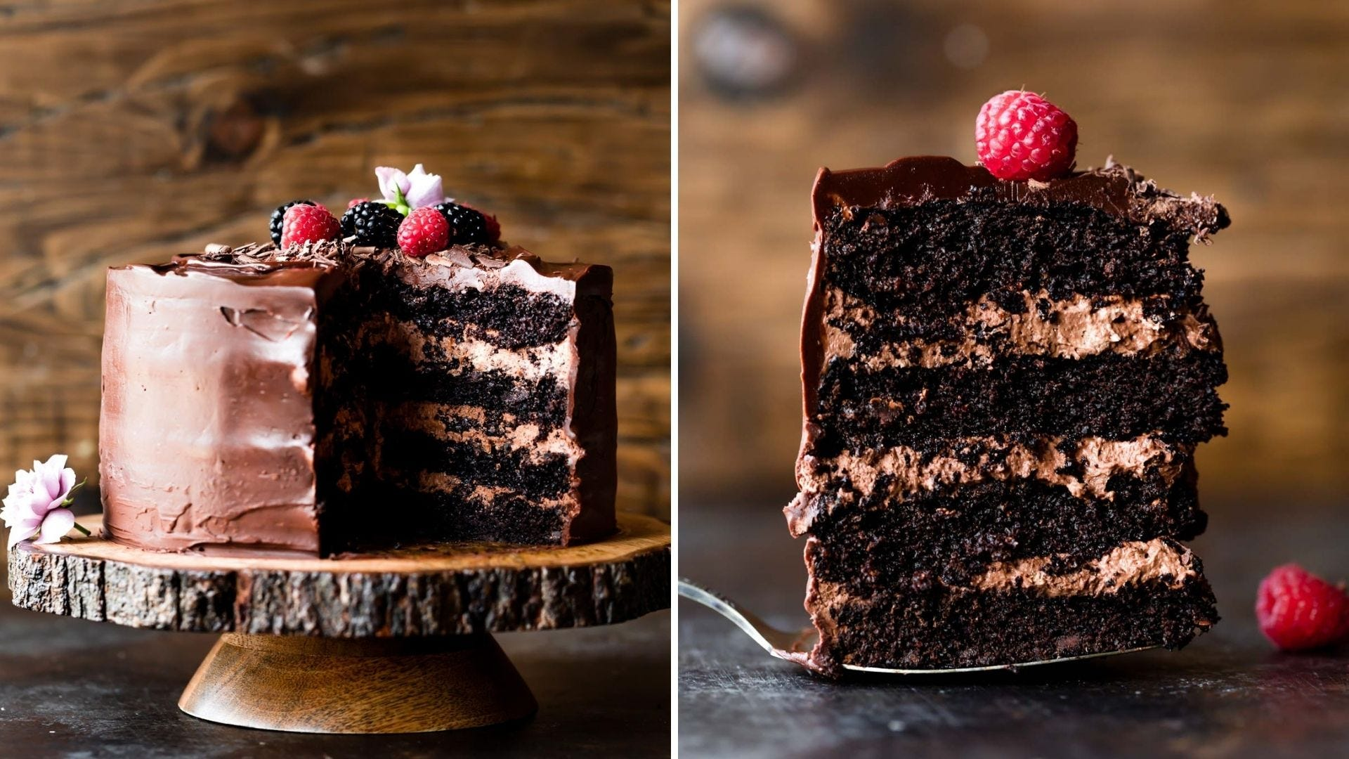 Chocolate cake with several layers of chocolate mousse in between each layer