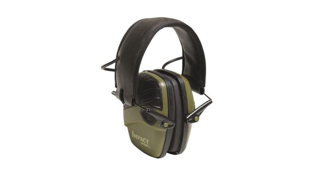 Green electronic earmuffs with a wide headband.