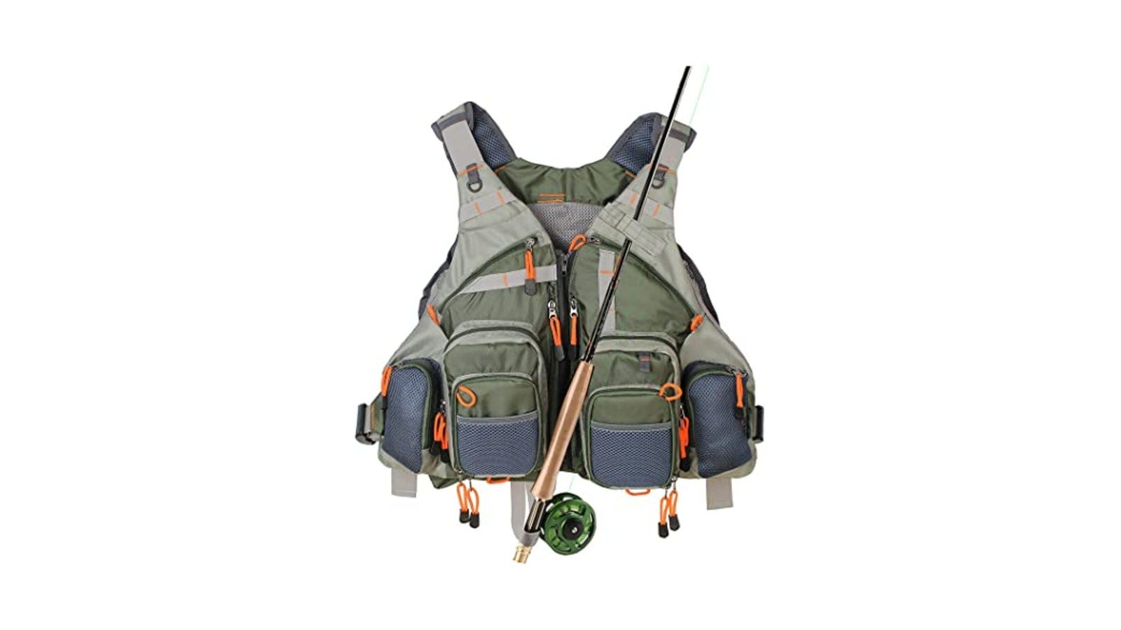 a fishing life vest with lots of zippered pockets and a fishing pole resting on top of it