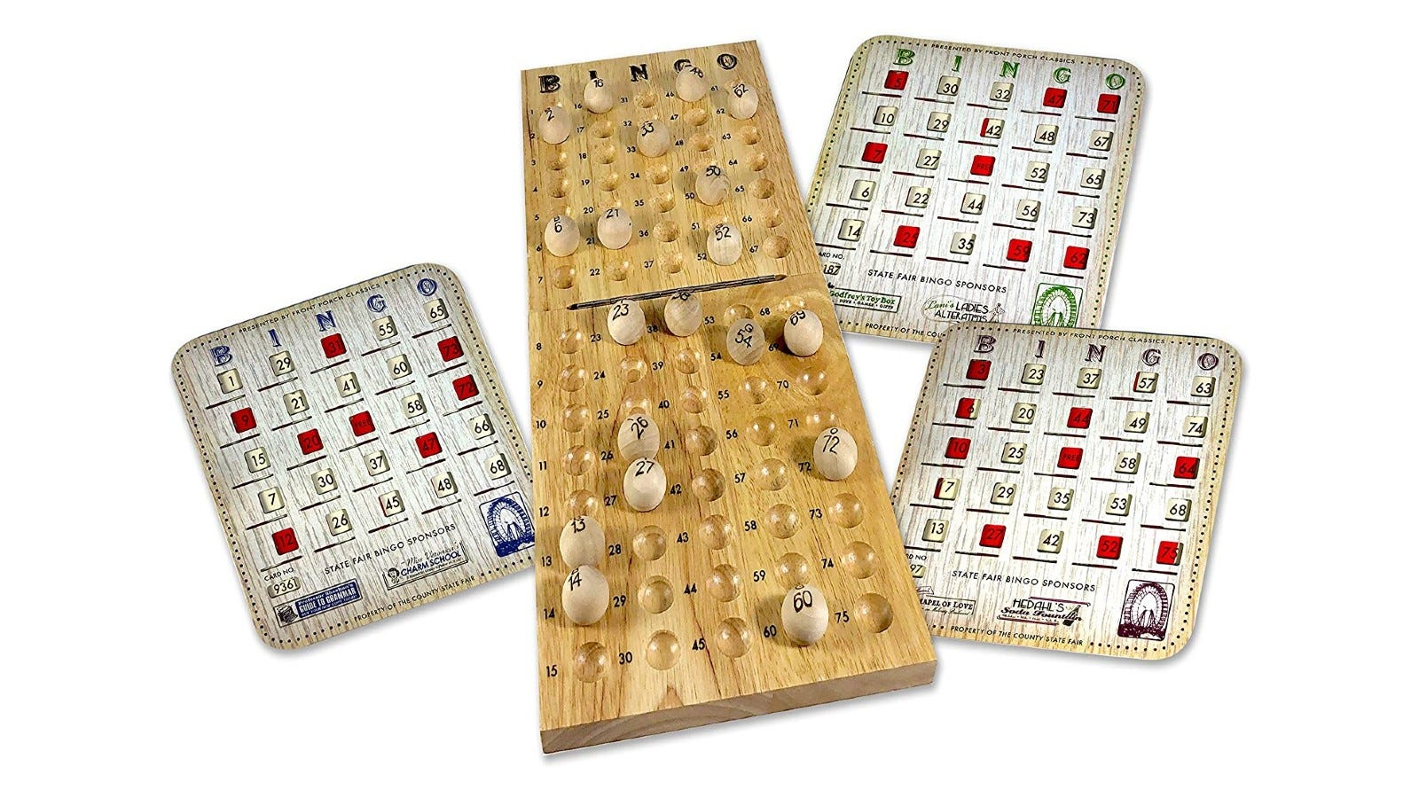a bingo set with a wooden number ball holder