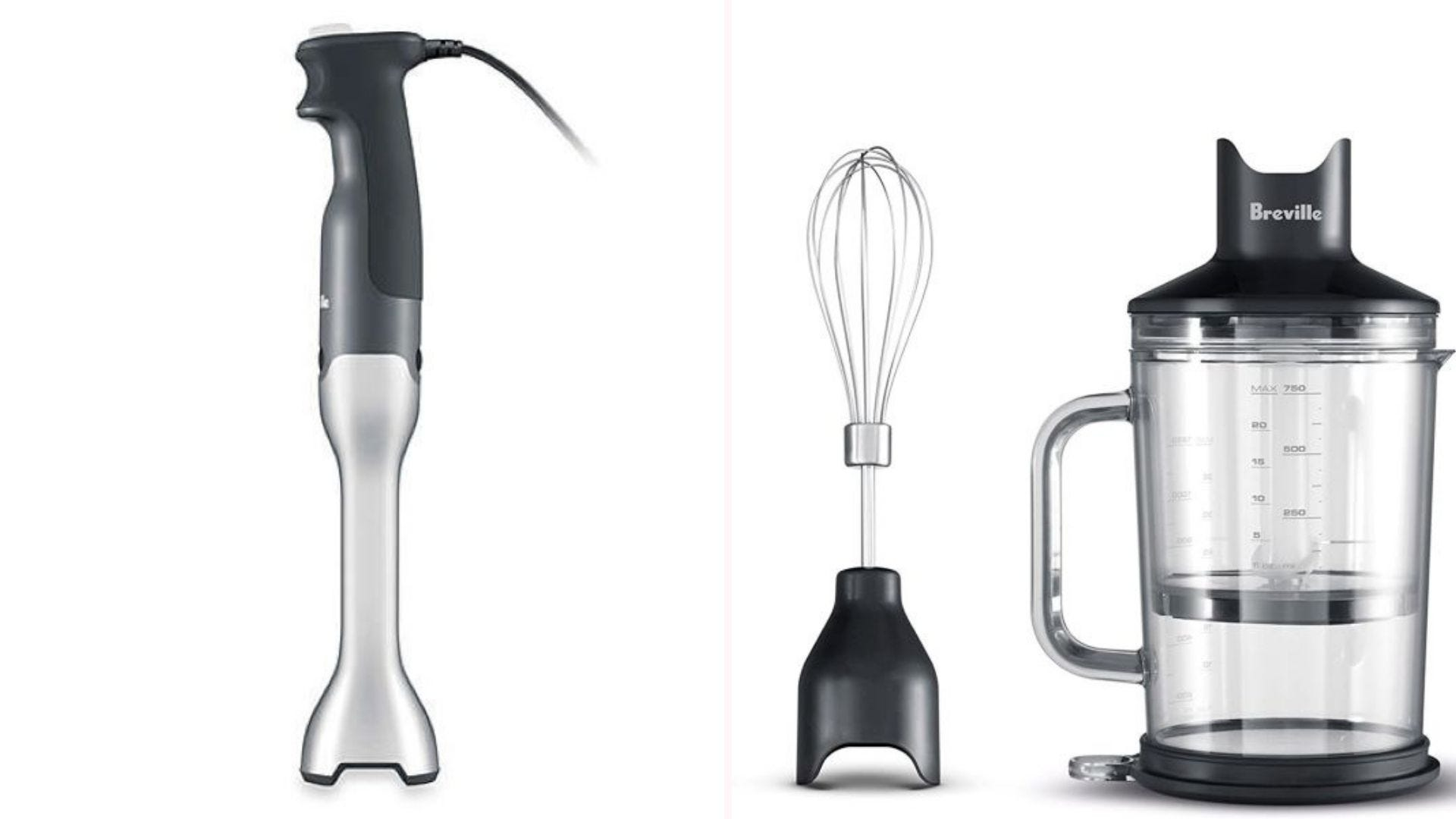 The Breville BSB510XL Control Grip Immersion Blender, mixer attachment, and three-cup chopper bowl.