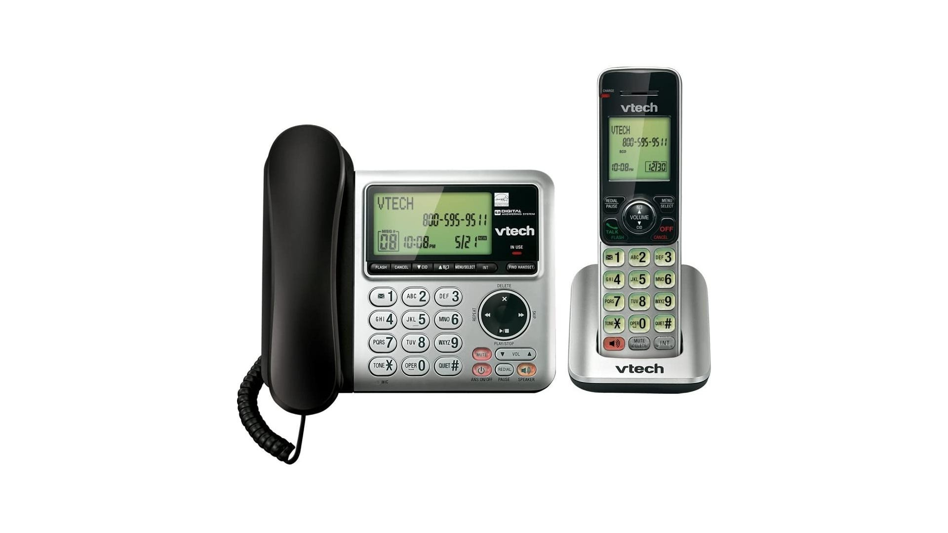 black corded phone on a silver dial pad next to a matching cordless phone