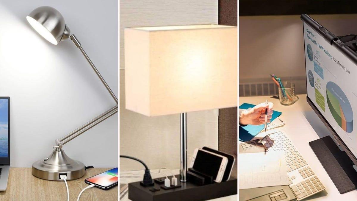 The Mlambert Desk Lamp, the Briever USB Table Lamp, and the BenQ ScreenBar Task Lamp.