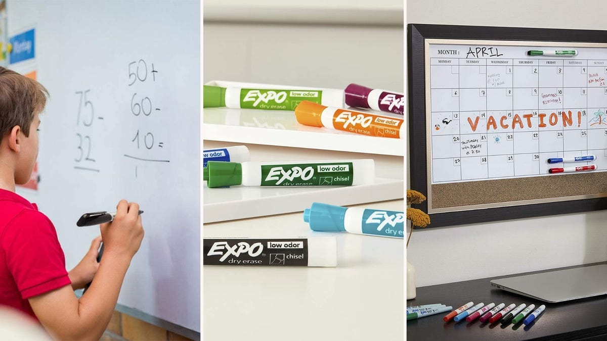 a boy writes on a whiteboard with a dry erase marker; colored EXPO markers lined up on a table; a whiteboard calendar for April is displayed on a wall