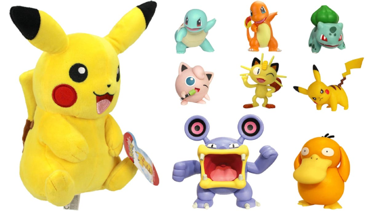 a plush Pikachu toy and various plastic toys of other Pokemon characters