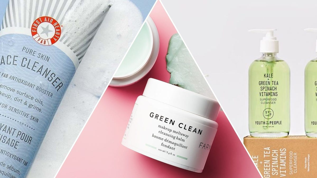 Bottles of face cleanser and a jar of cleansing balm