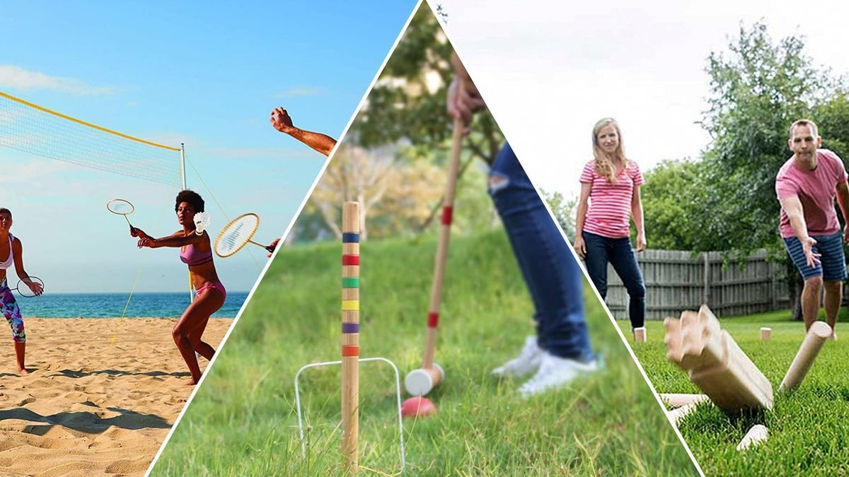 People playing badminton, croquet, and kubb
