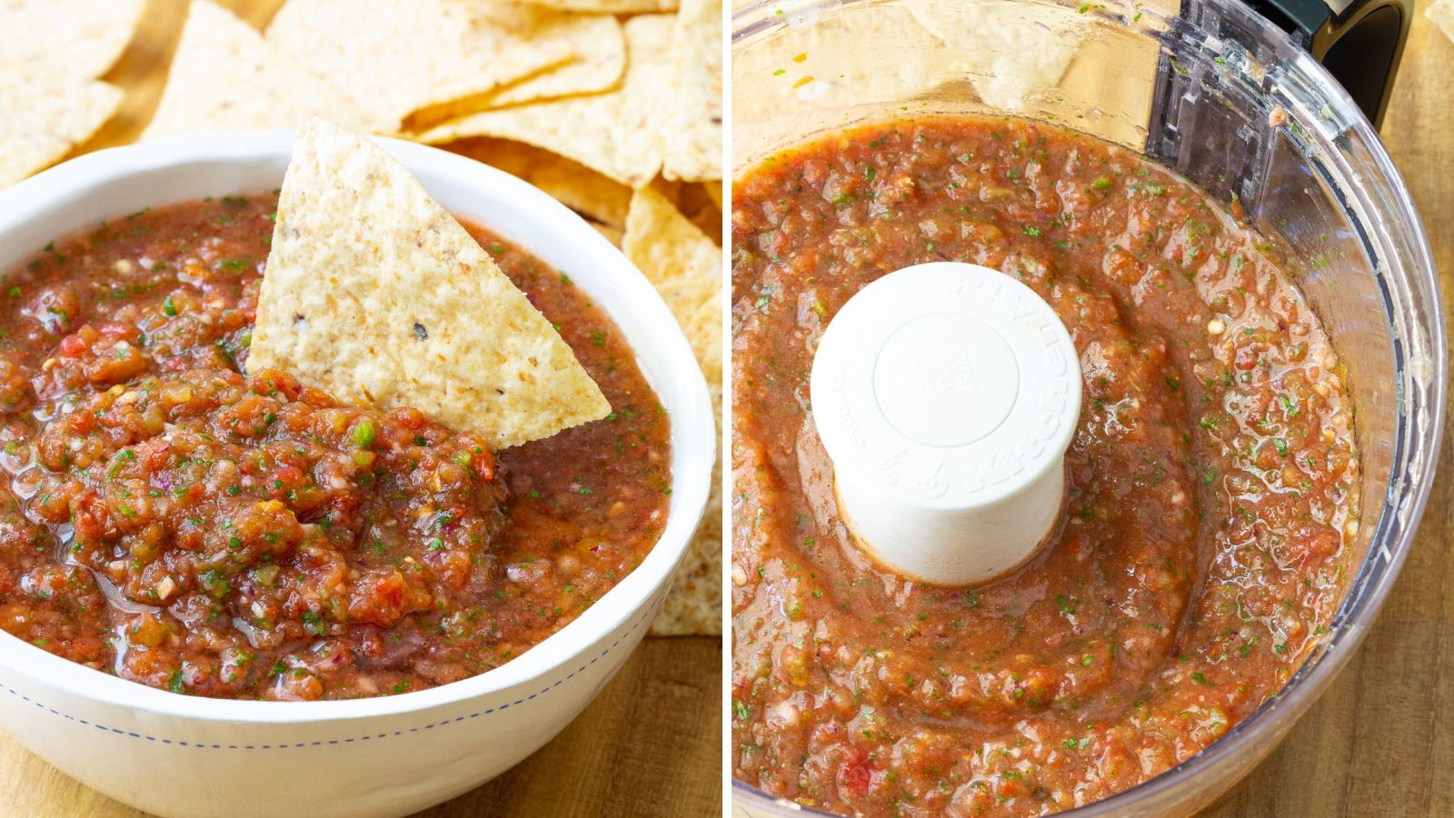 Two images: The left image features a bowl of freshly made salsa with one tortilla chip dipped in it, and the right image features a food processor with salsa in it.