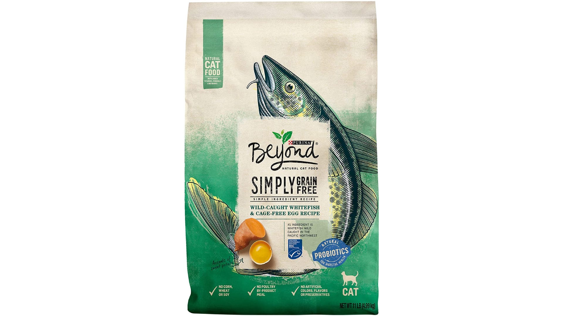 a bag of Purina Beyond dry cat food with a fish painted on it