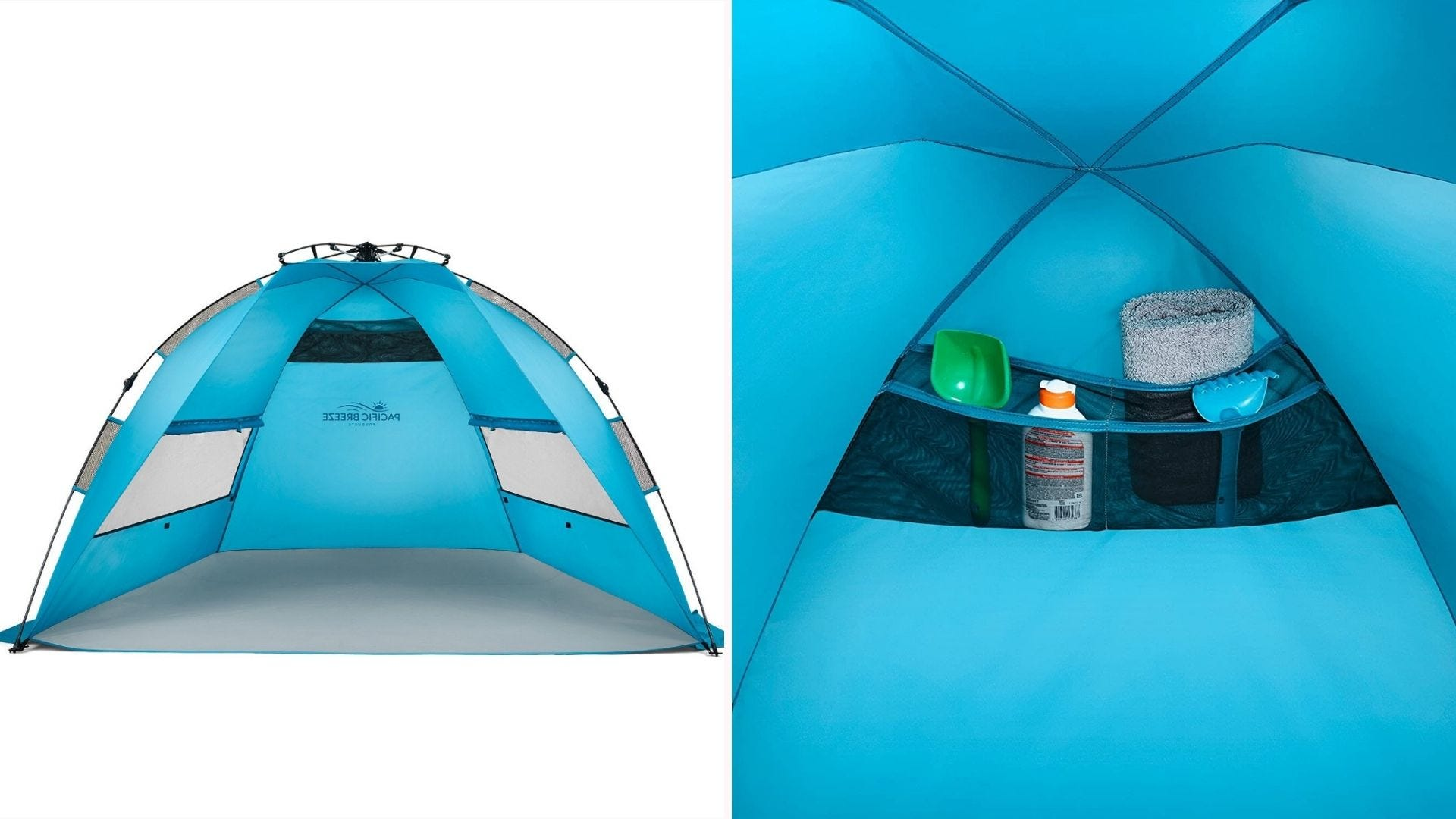 A popup tent designed for use at the beach.