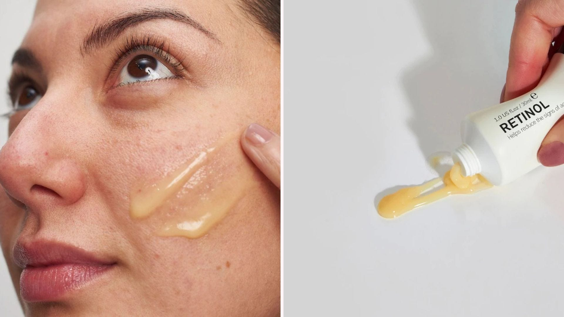 A woman applying a yellow-tinted gel to her cheek; a white tube with yellow gel
