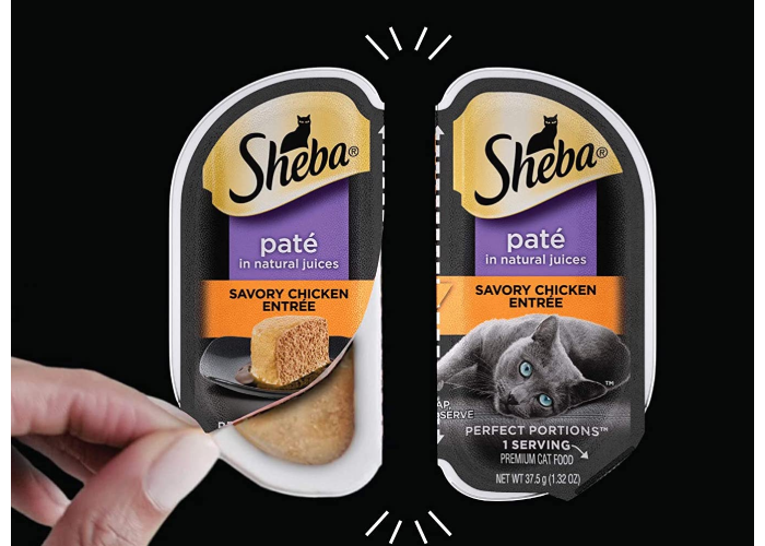A person opening one side of the Sheba wet cat food portions.