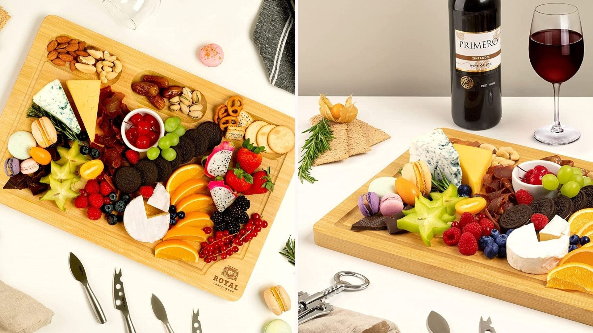 Two side by side images displaying the Royal Craft Wood extra large cheese board.