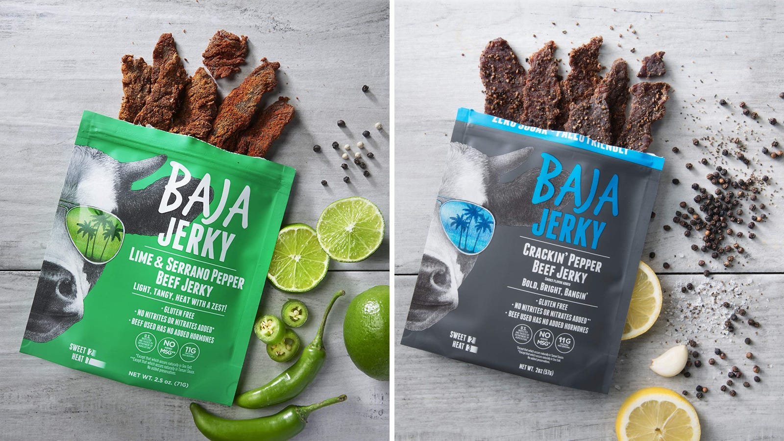 Two images featuring flavors of Baha beef jerky, including Lime & Serrano pepper beef jerky, and Crackin' Pepper jerky.