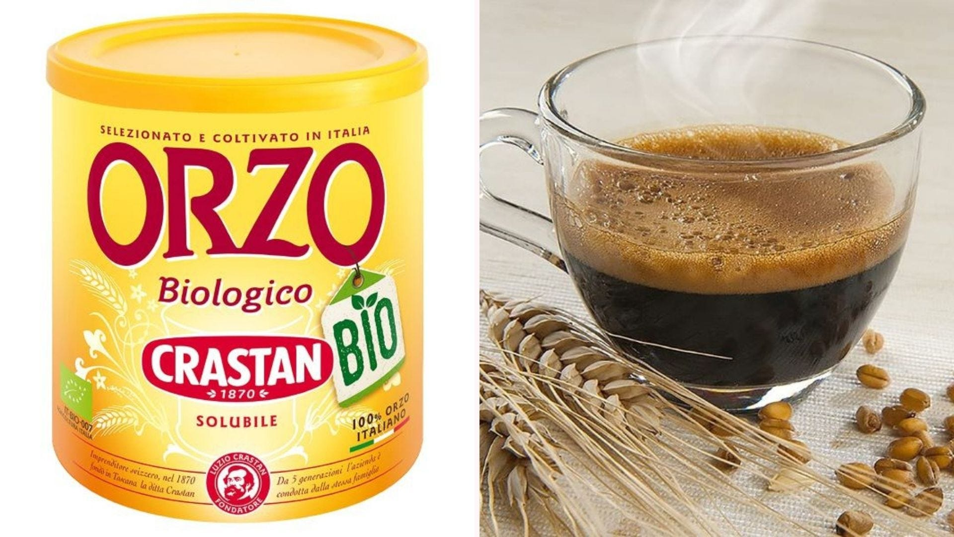 A container of Crastan Orzo and a glass mug of Orzo coffee surrounded by barley.