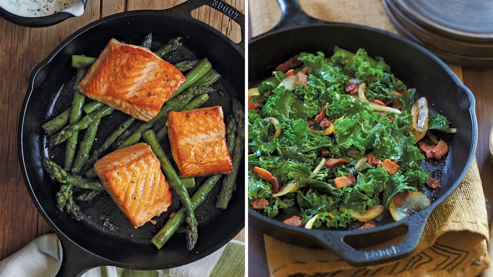 Two images displaying the Lodge cast iron skillet. The left image displays a seared salmon and asparagus dinner and the right image features a kale, onion and bacon side dish, made in the skillet.