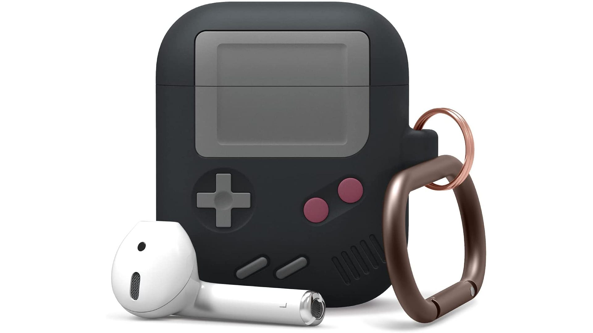 an AirPods case designed to look like a Nintendo Gameboy with a carabiner on the side and one AirPod resting outside the case