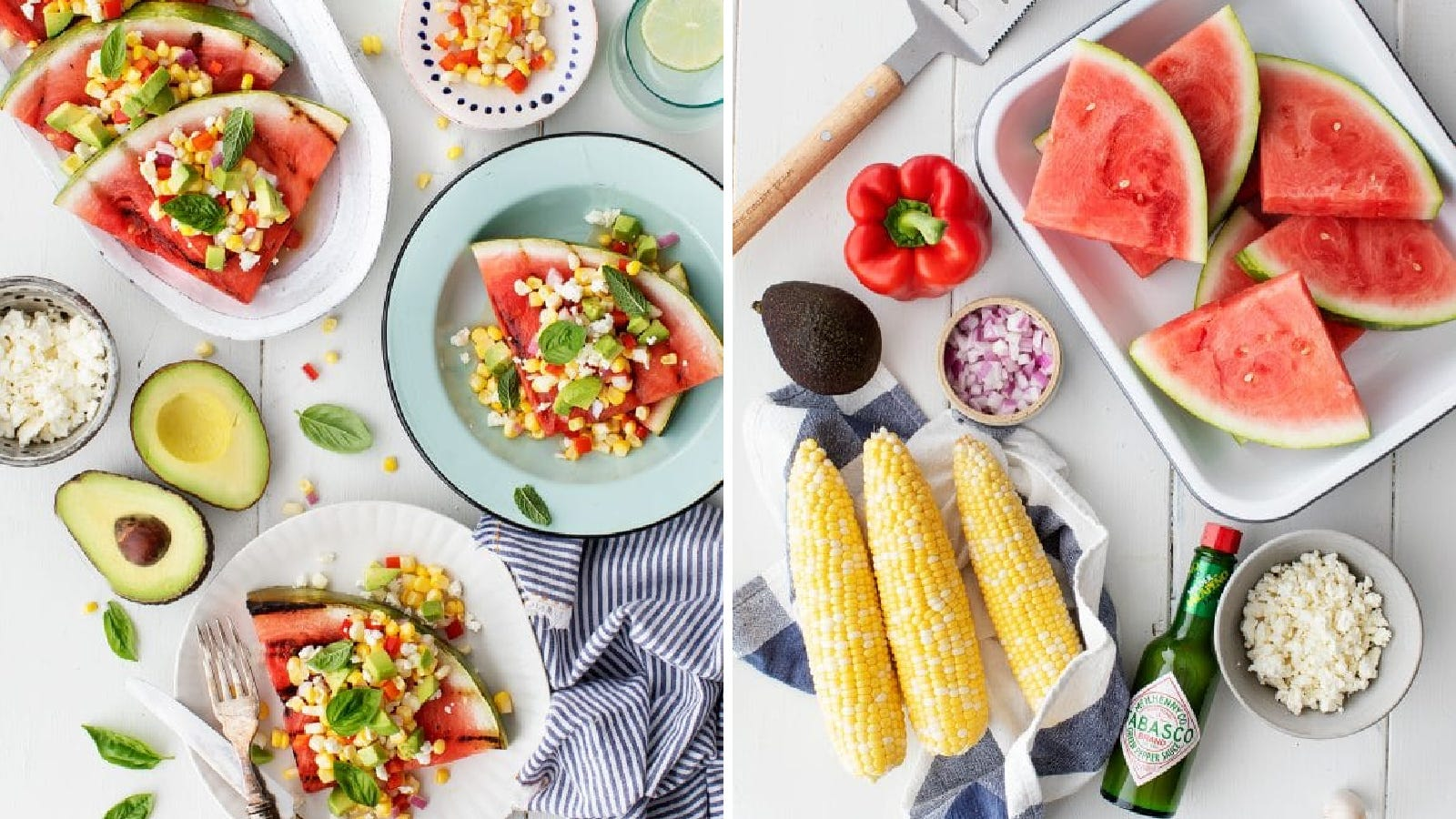 Finished plates of grilled watermelon topped with corn salsa, and all the ingredients used to make the meal.