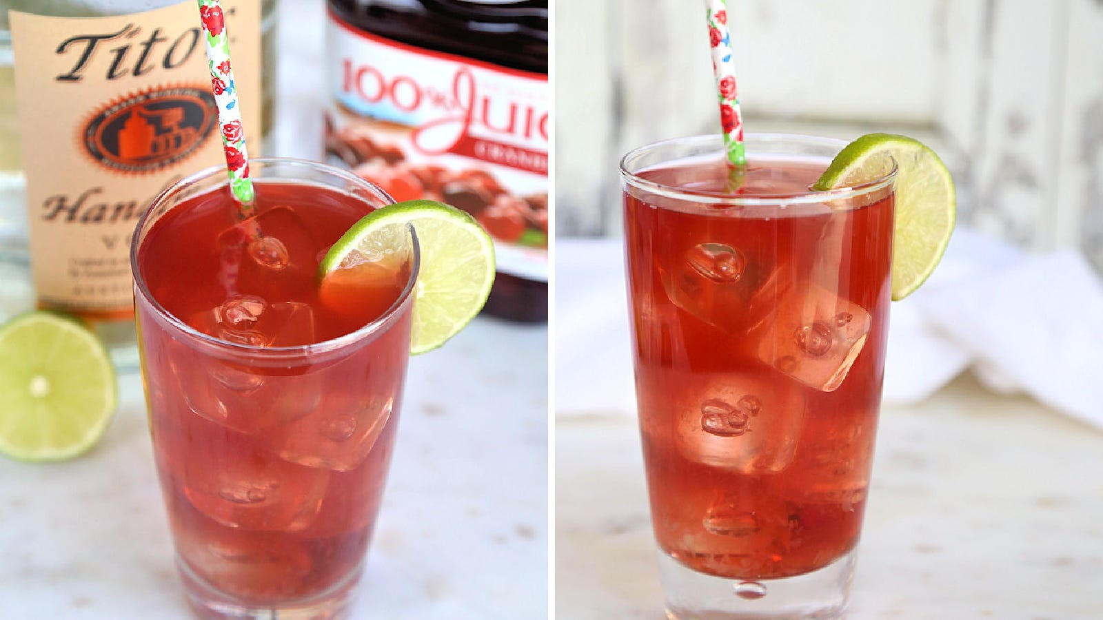Two images displaying a cape codder cocktail, with ingredients like vodka, cranberry juice and lime in the background.