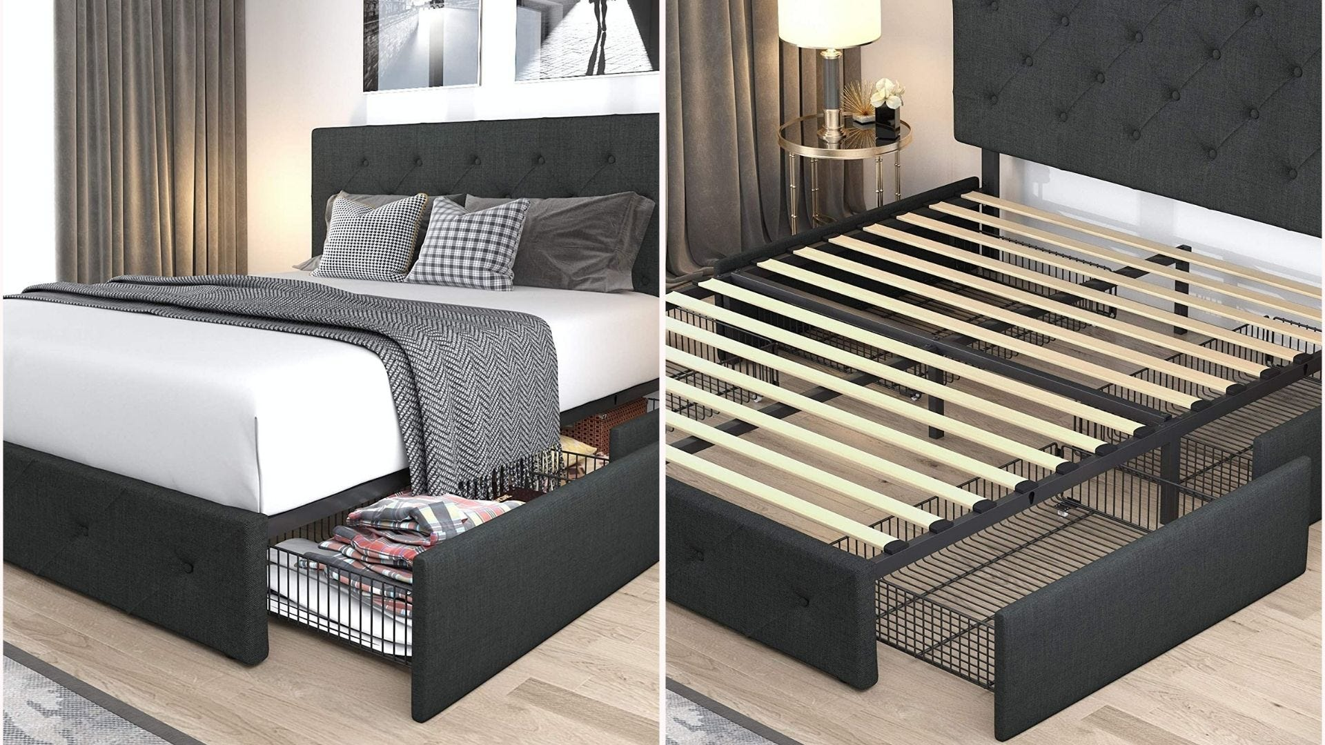a platform bed frame with upholstered headboard and bottom drawers that fit underneath it