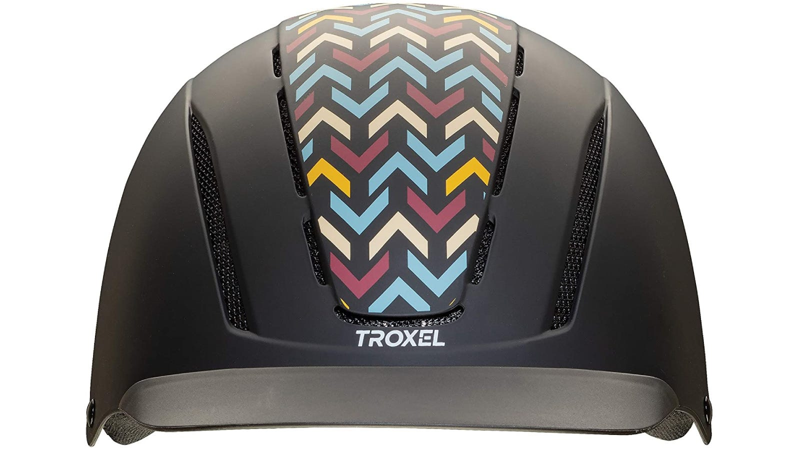 A horse riding helmet with a colorful chevron patterns down the center.