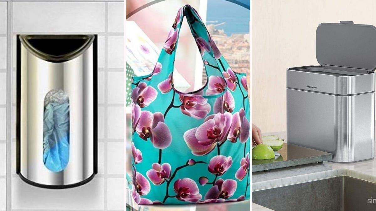 A plastic bag dispenser hanging on a wall, a teal floral print reusable grocery bag, a simplehuman compost bin.