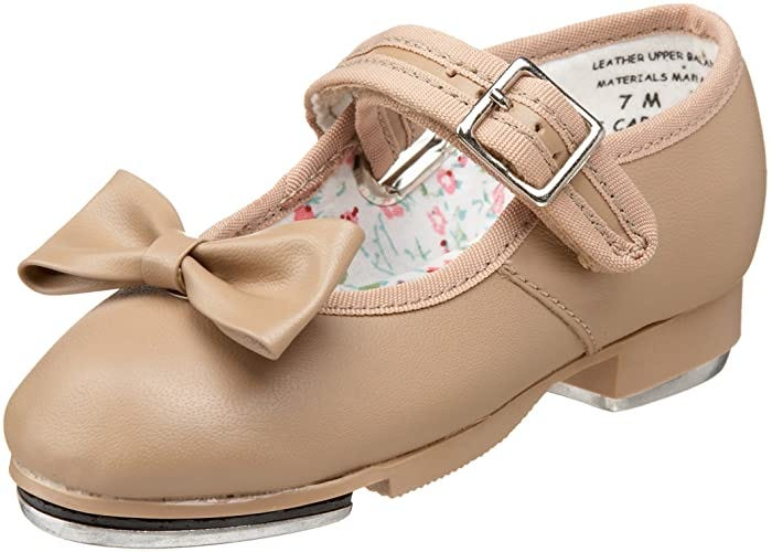 tan little girl's tap shoe with bow and adjustable strap