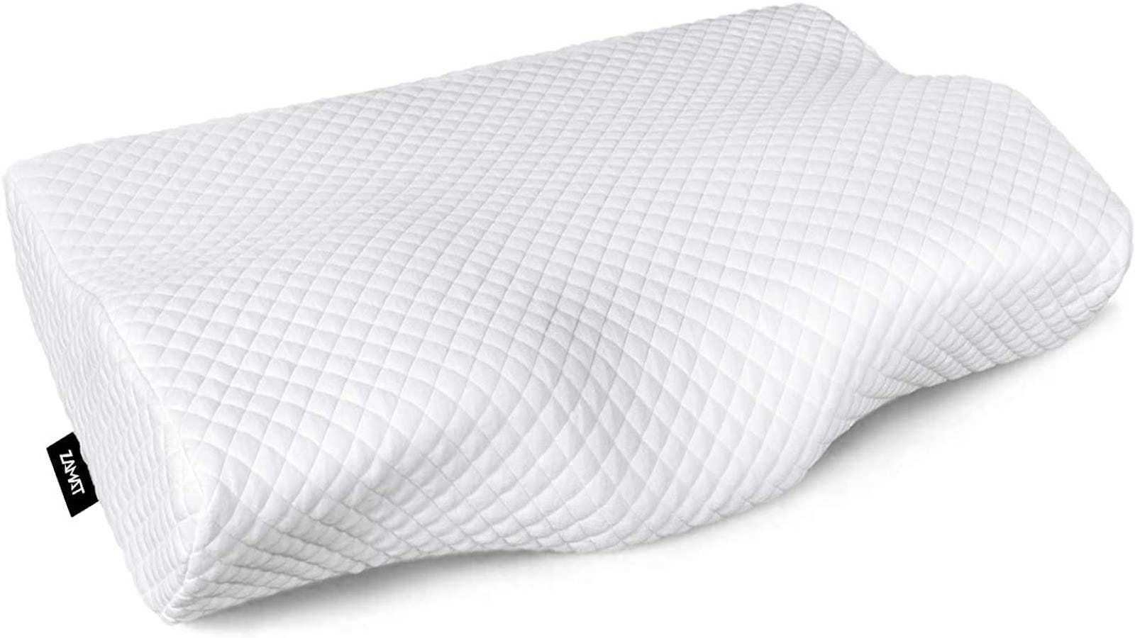 textured, cervical shaped memory foam pillow