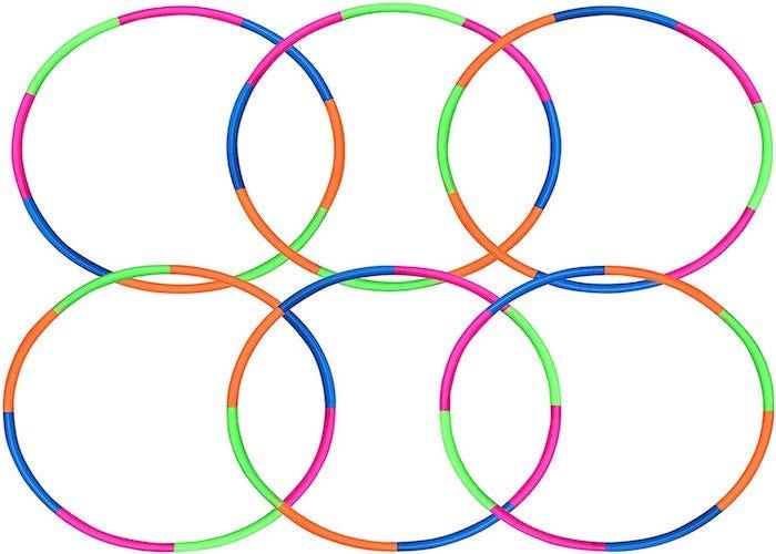 set of six multicolored hula hoops