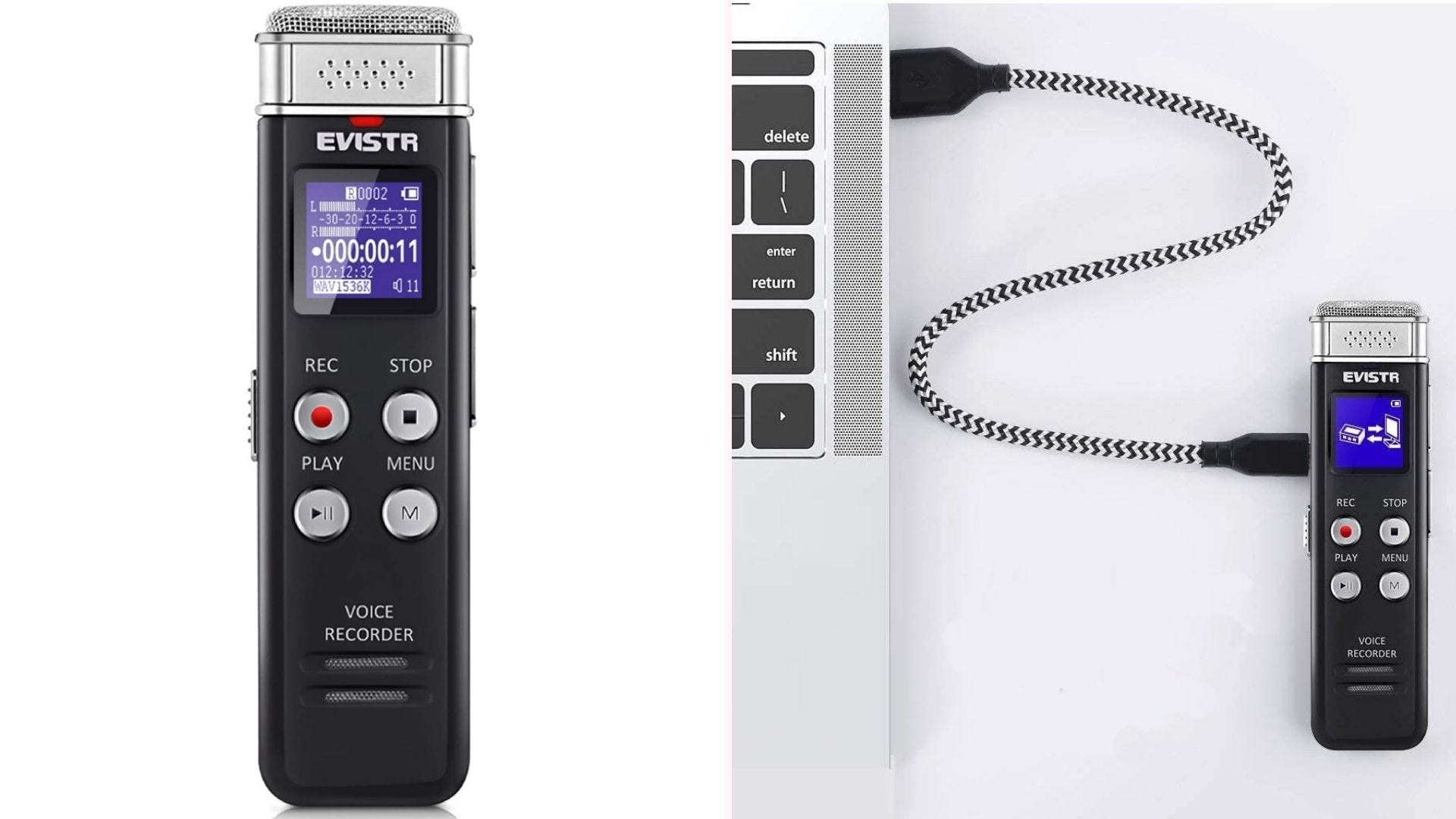Compact black 16GB voice recorder with digital display, voice activated recording, and noise cancellation microphone