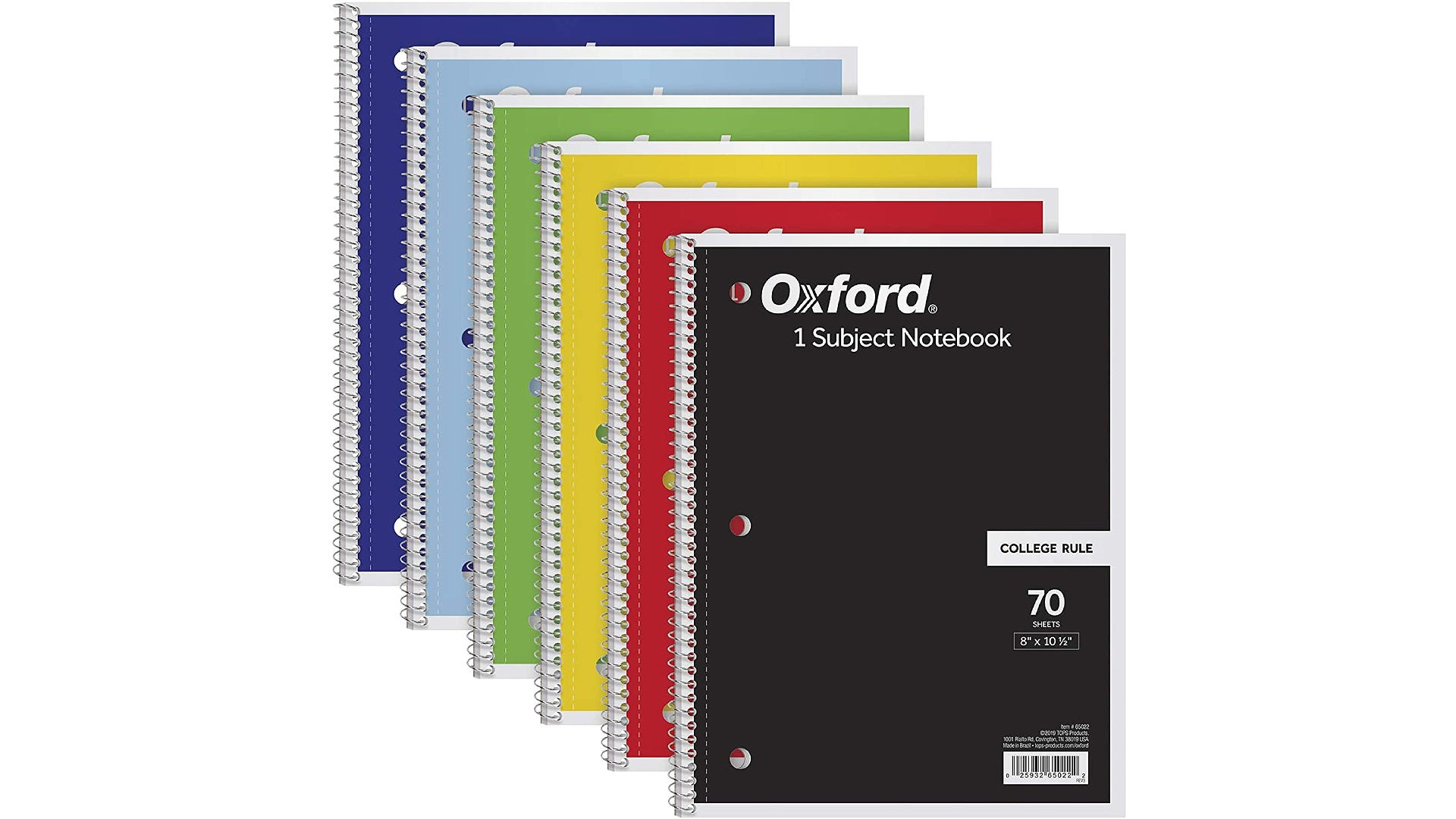 six different colors single subject spiral notebooks
