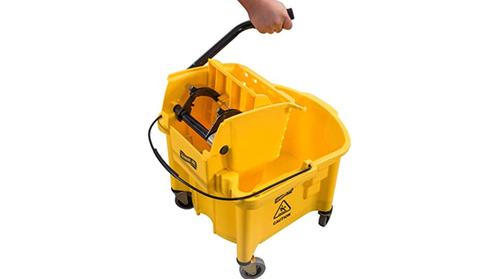large yellow commercial sized mop bucket