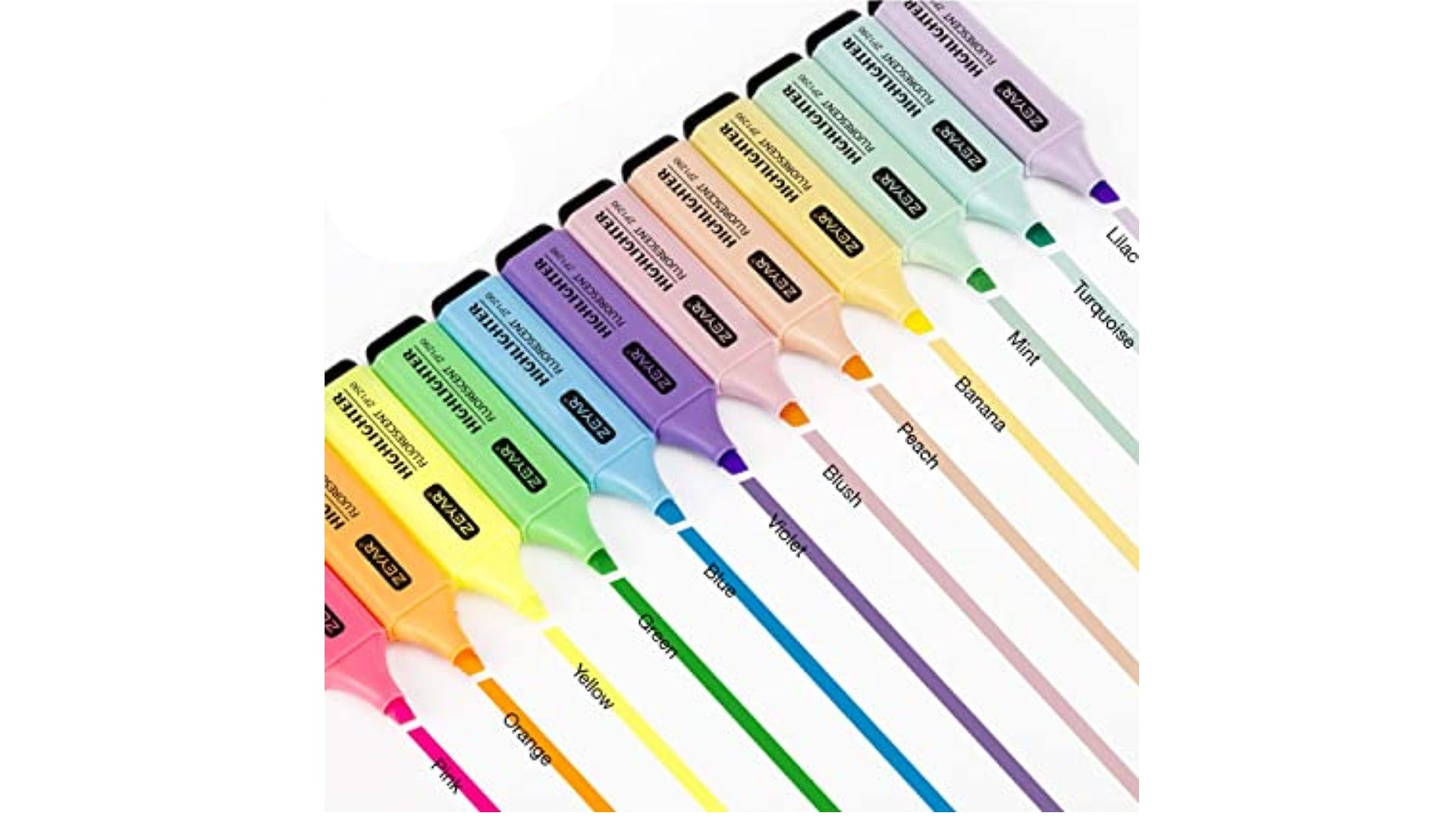 flat bodies highlighters in various colors with chiseled tips drawing lines