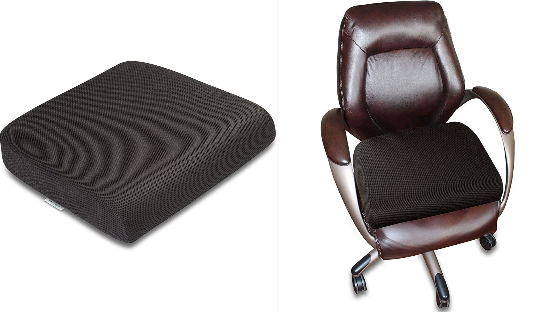 On the left, a black square seat cushion. On the right, a leather office chair with the same cushion.
