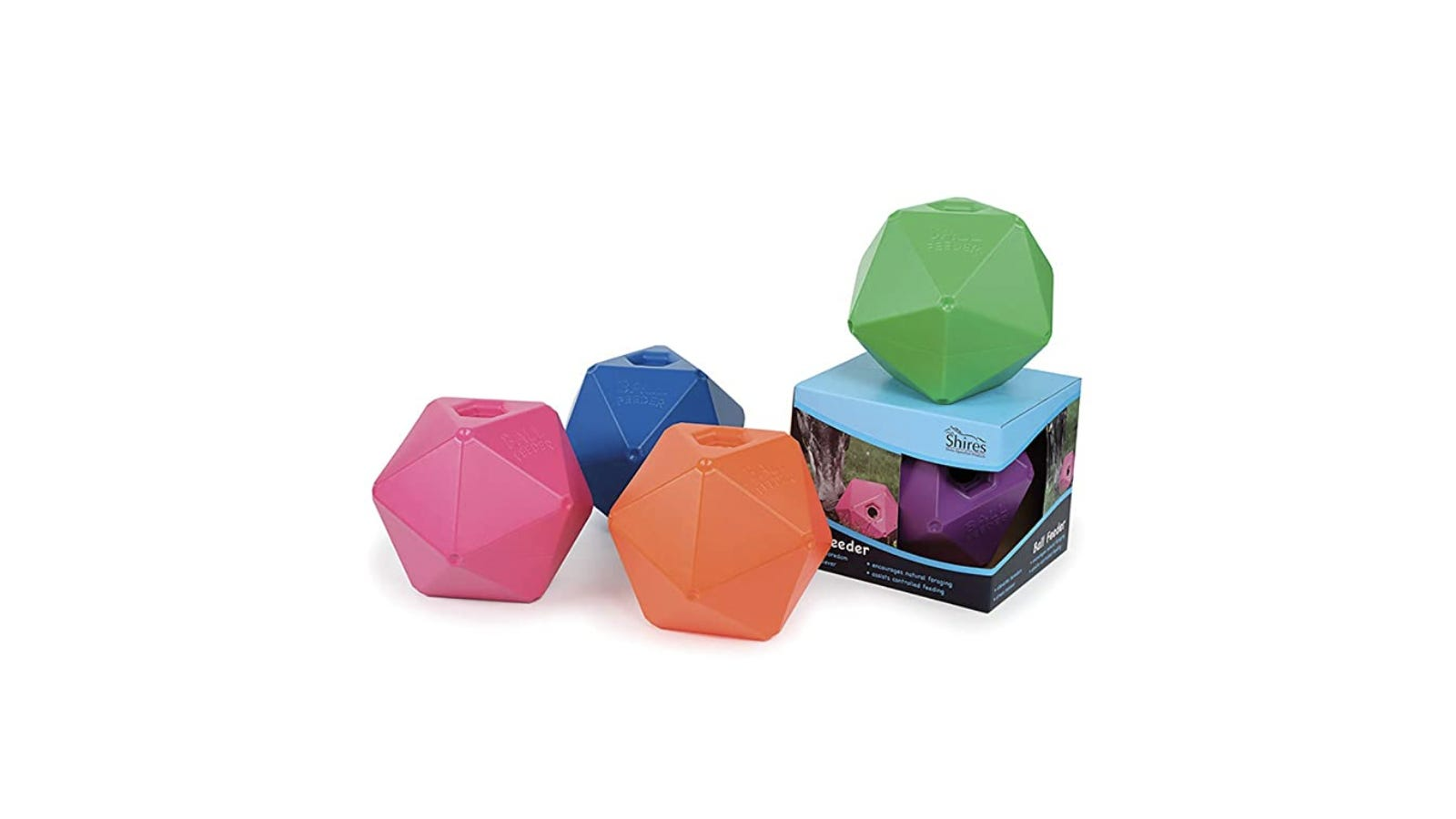 five brightly colored ball-like feeders for horses