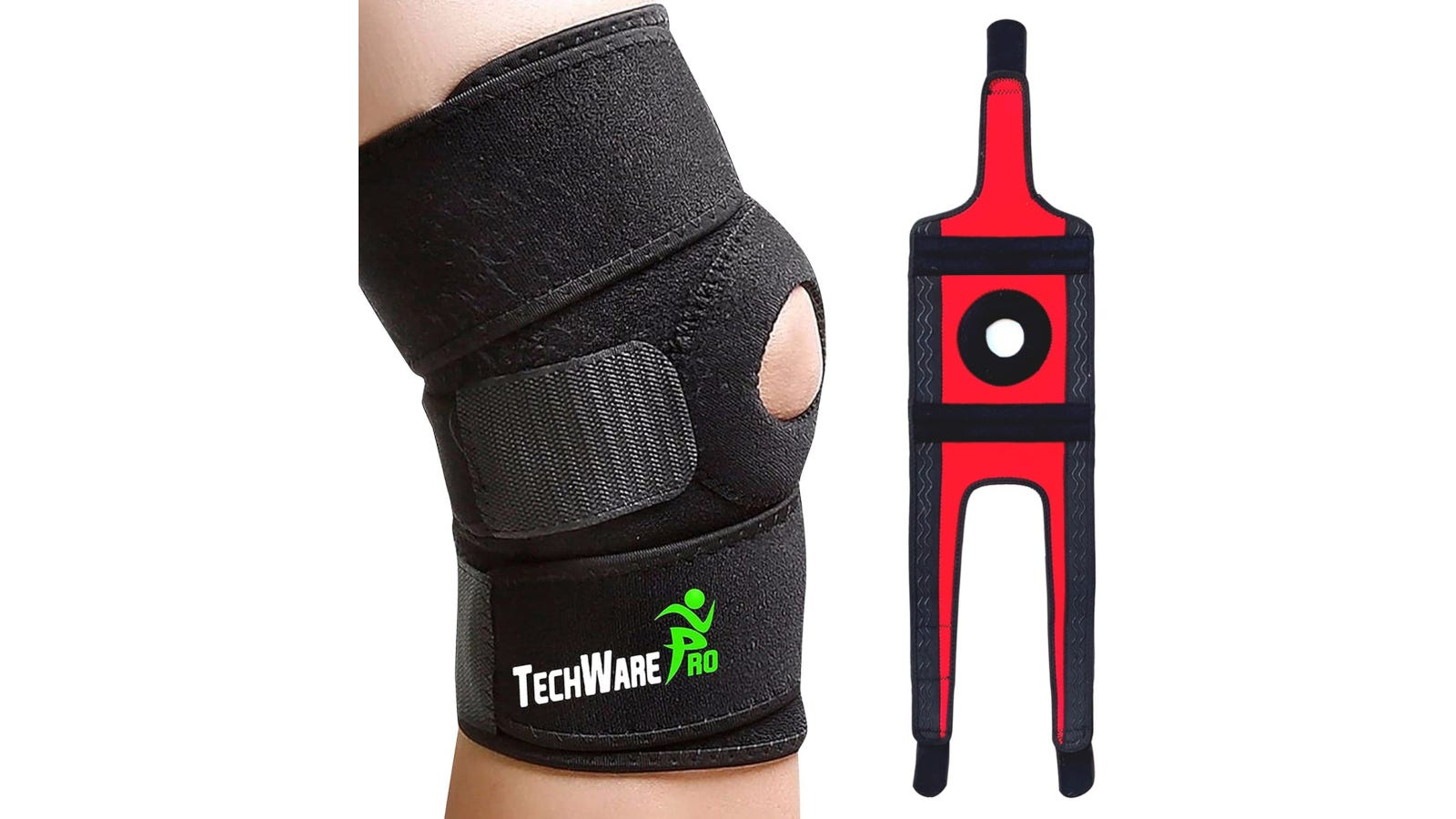 A person wearing a black open-patella knee brace with dual stabilizers with the open device showcasing the red interior shown to the right.