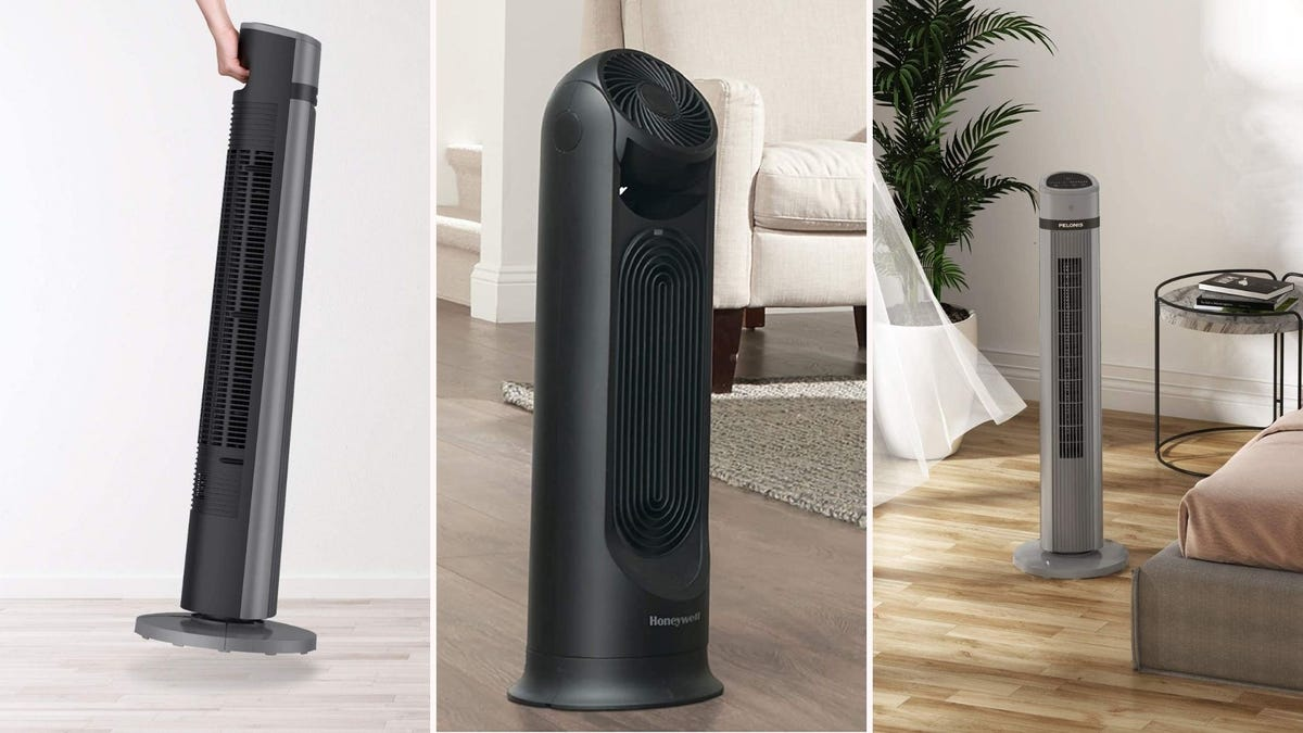 three tower fans shown in homes