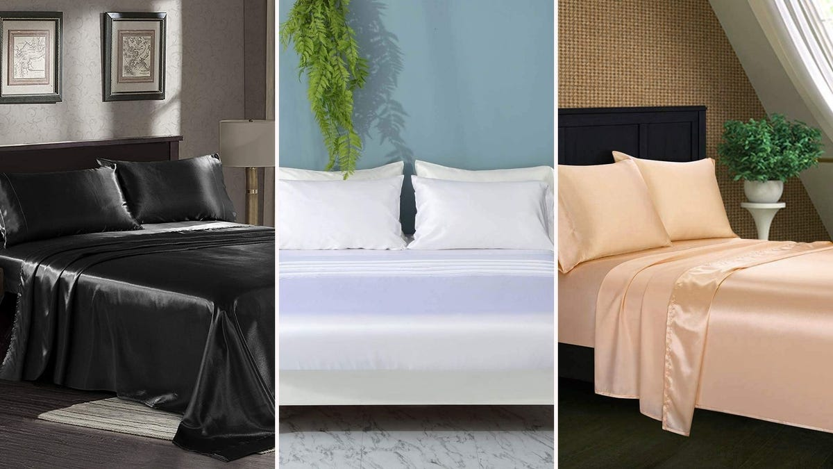 three different sets of satiny sheets--one black, one white, one peach--all on beds