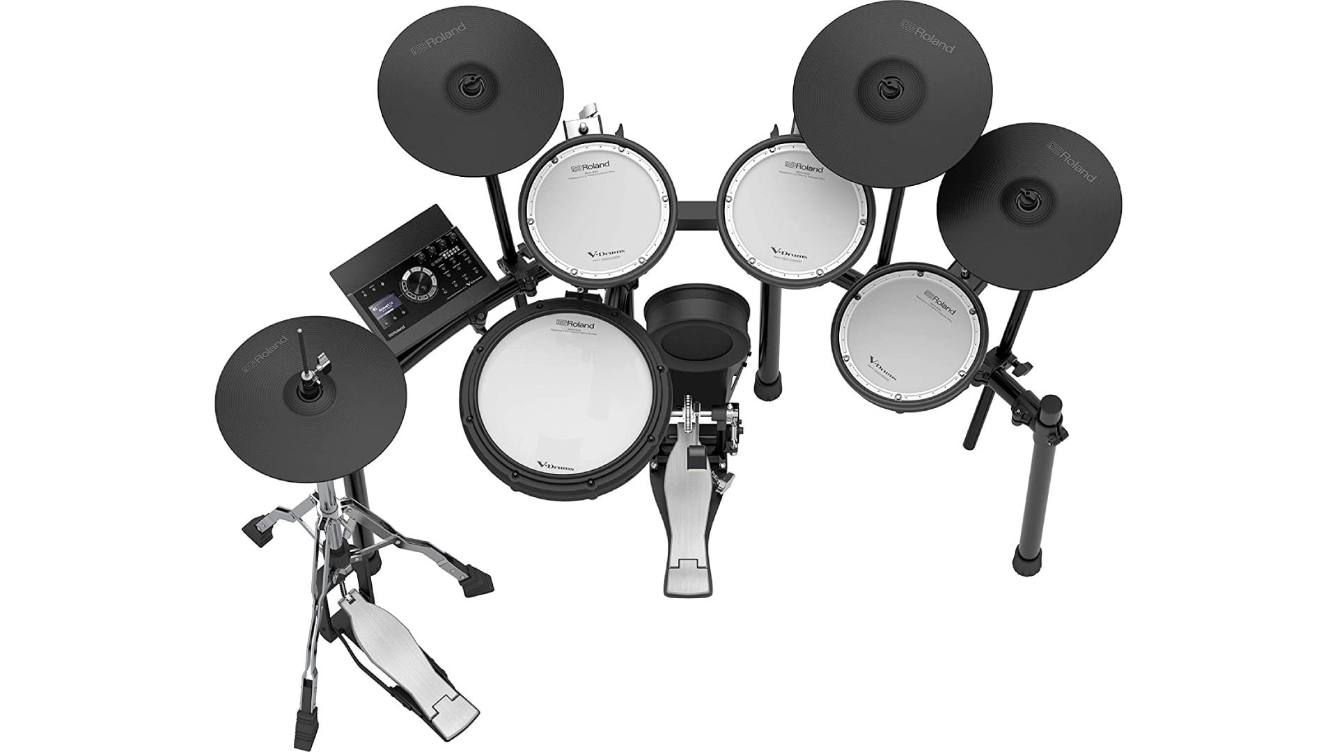 A over-head view of an electronic drum kit with bass drum, kick pedals, snare drum, toms, and cymbals.