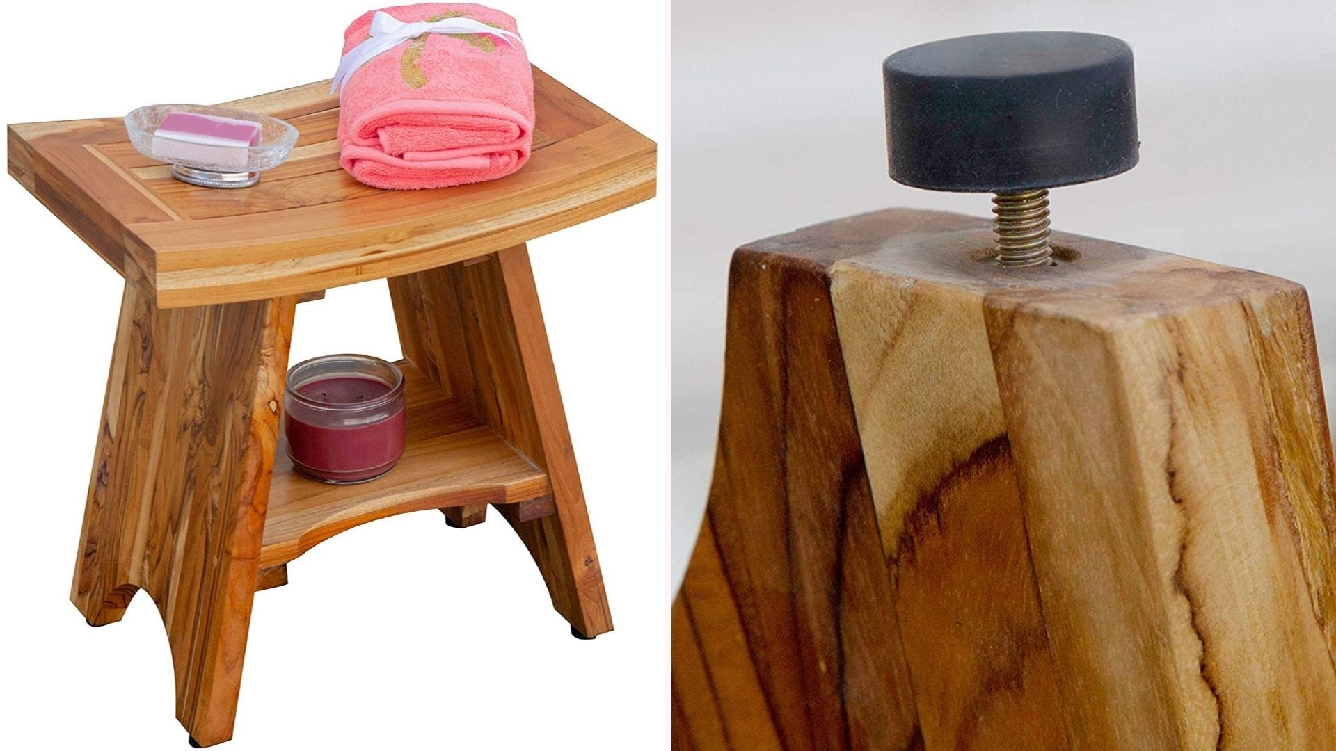 On the left, an 18-by-12-inch shower stool is constructed from light brown teak wood and features a small storage shelf in between the legs of the stool. On the right, a closeup view of the bottom of the shower stool's leg, which showcases its height adjustable rubber foot pads.