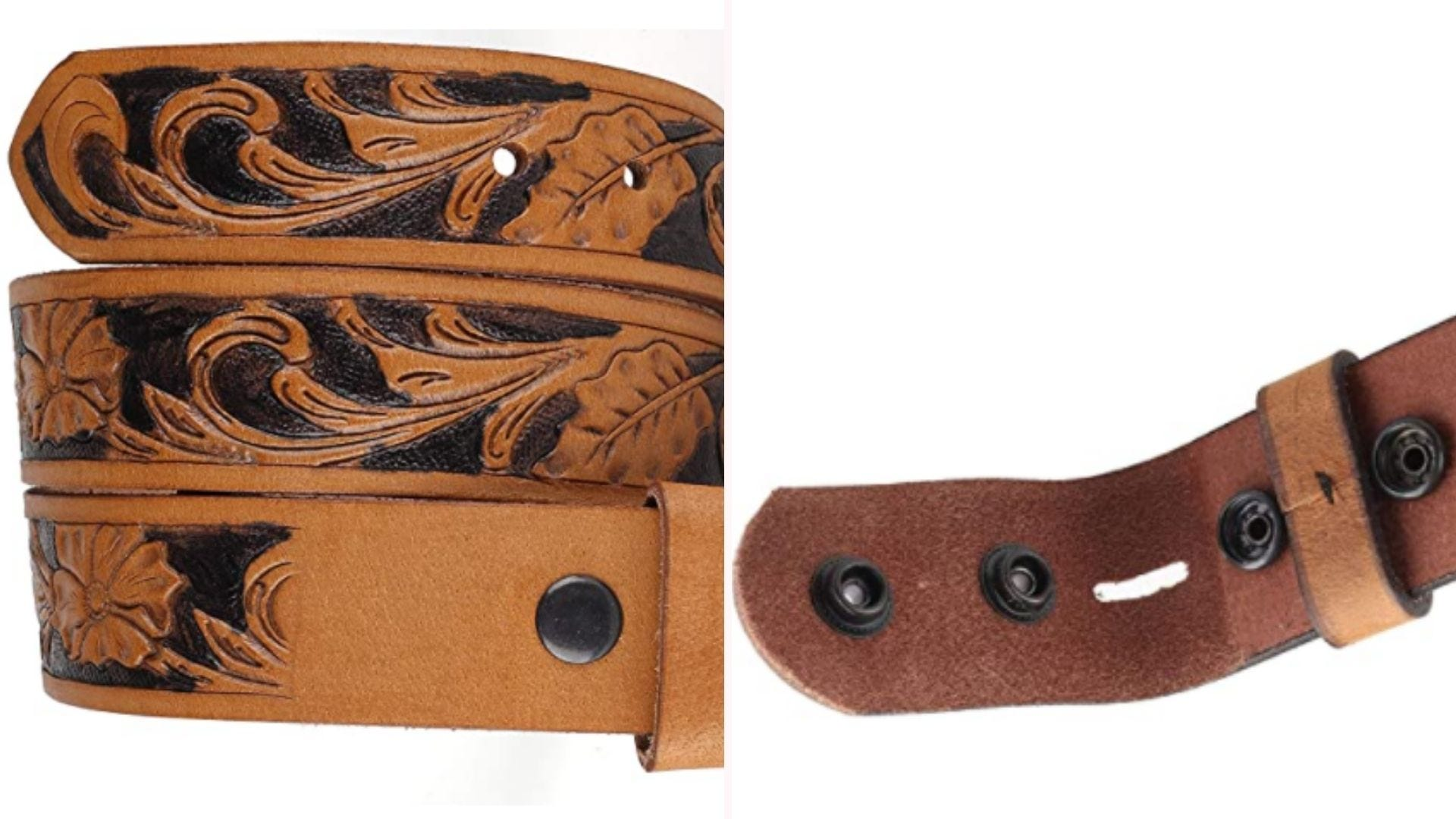 On the left, a cowhide leather belt featuring an floral design sits in contrast to the black recesses of its embossing. On the right, a closeup view of the belt's button clasps where a belt buckle will be locked into place.