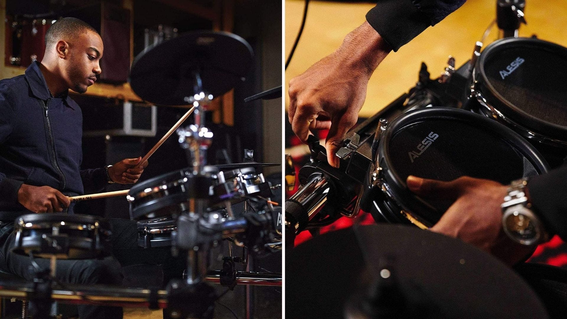 On the left, a male drummer plays on an electronic drum set. On the right, a close-up of a drummer adjusting a drum pad's position.