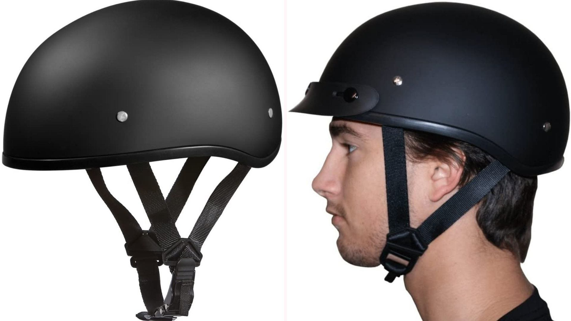 On the left, a dull black helmet that has a Y-Strap lock retention system. On the right, a man wears the black helmet.