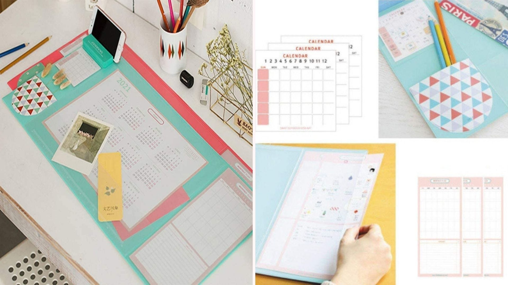 On the left, a top view of a light blue desk pad that features a large year calendar underneath a PVS cover. On the right, four close up images of the pad's accessory features, like its 12 small calendars and 12 monthly plan cards.