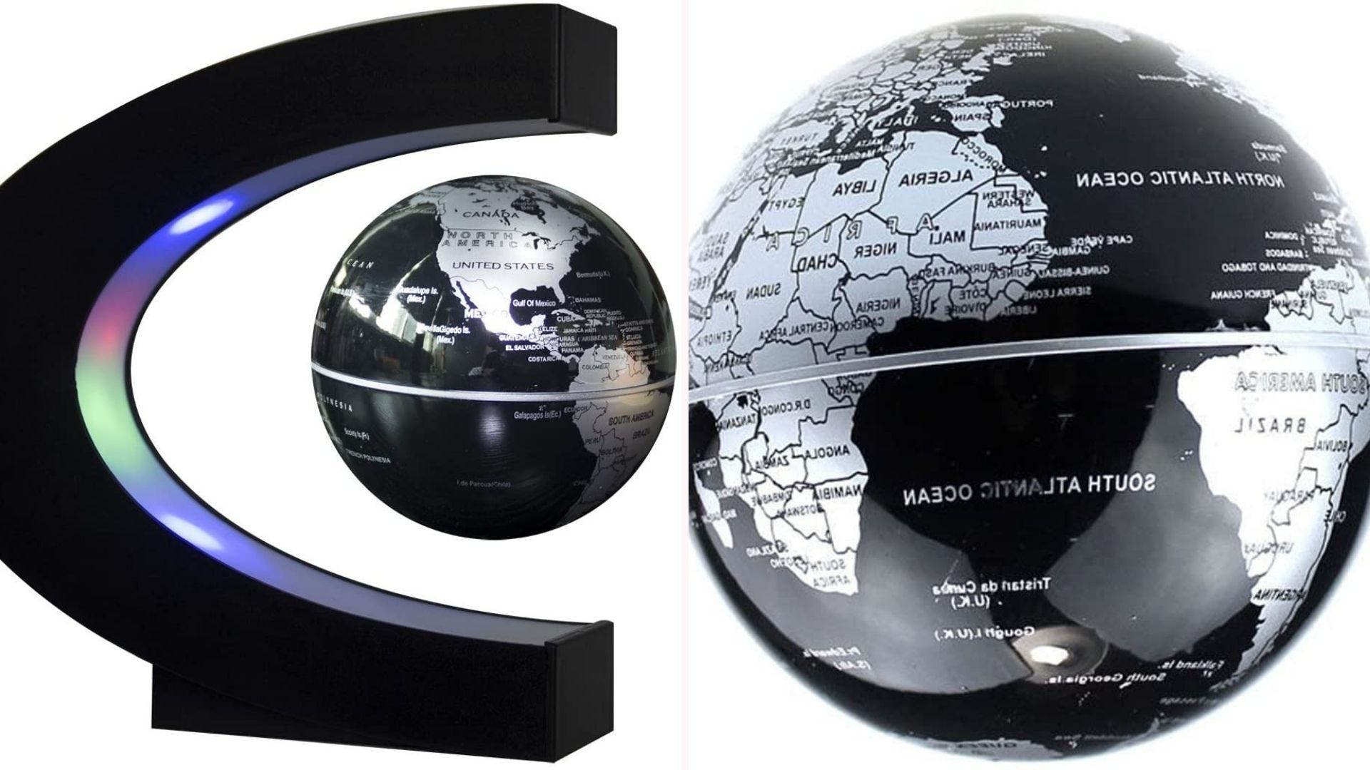 On the left, a black and silver miniature globe floats in the center of a magnetized C-frame, which is lined with multicolor LED lights. On the right, a closeup view of the globe depicts its metallic-look and detailed countries.