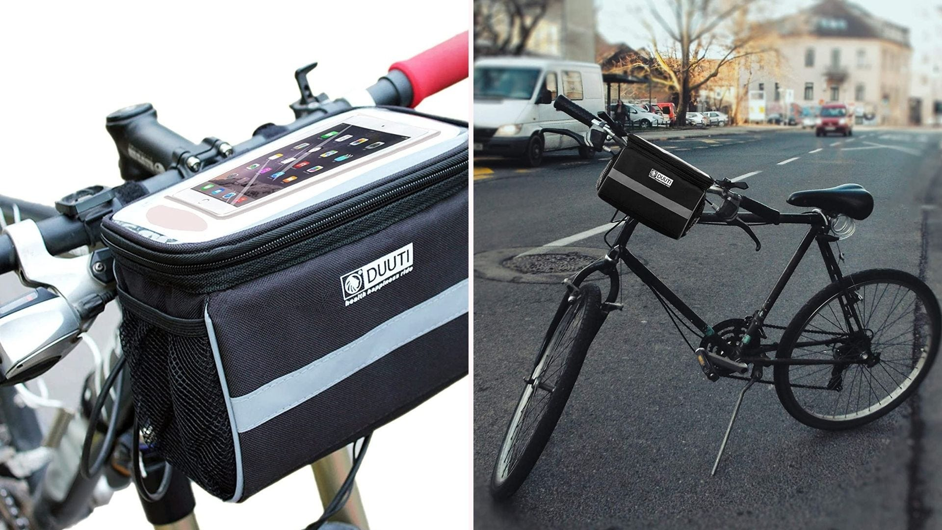 a bike basket resembling a small soft cooler strapped onto the front handlebar