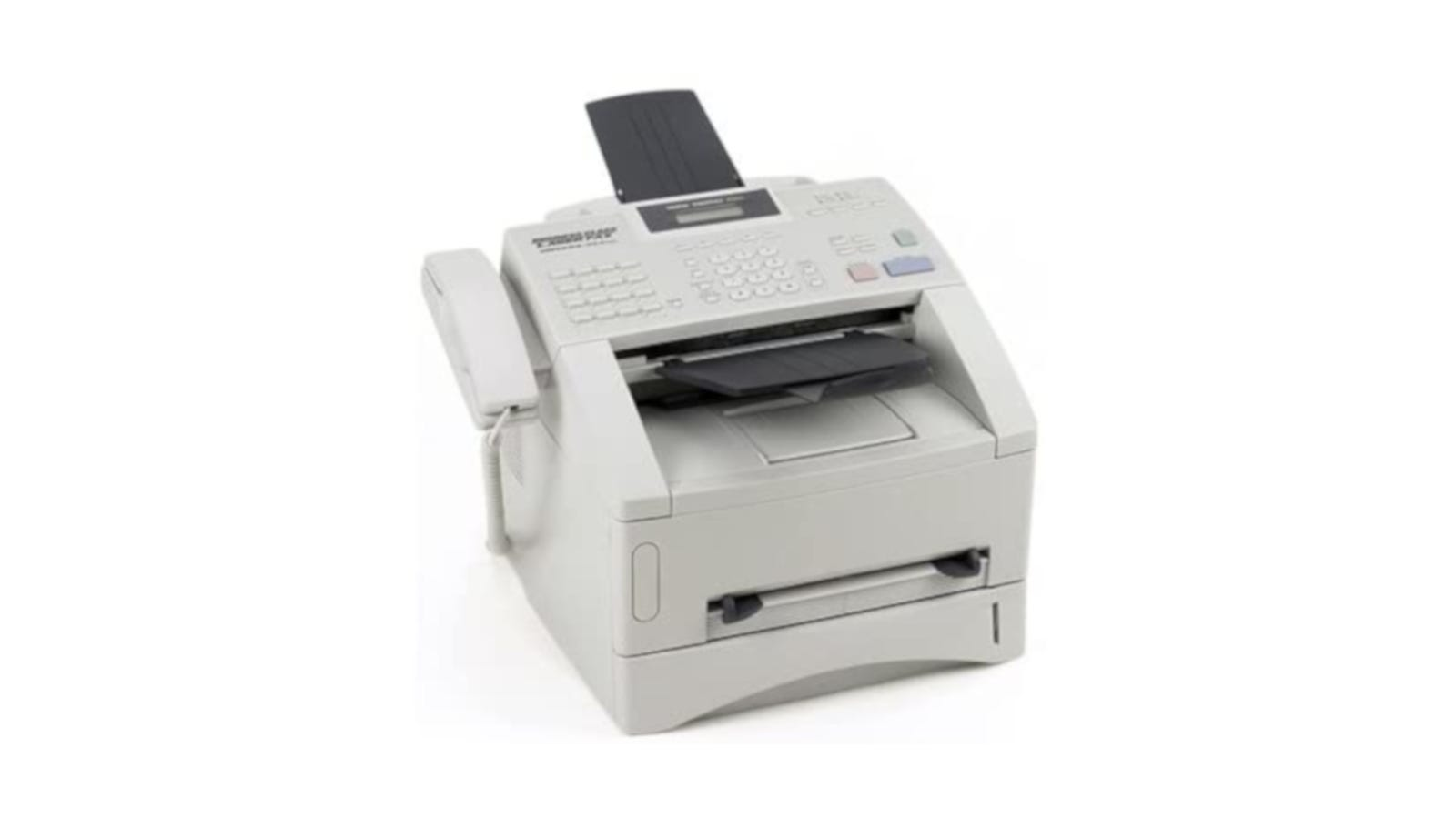 white laser fax and copier machine with auto-dial for up to 132 numbers and 250-sheet paper tray